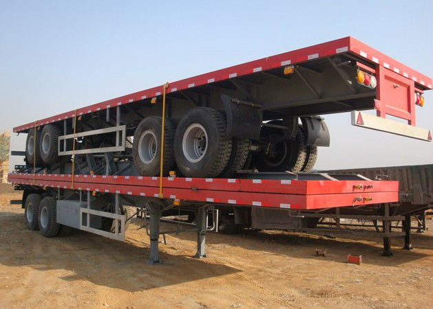 SINO HOWO 40ft 20ft Container Trailer , Flatbed Semi Trailer For Transportation